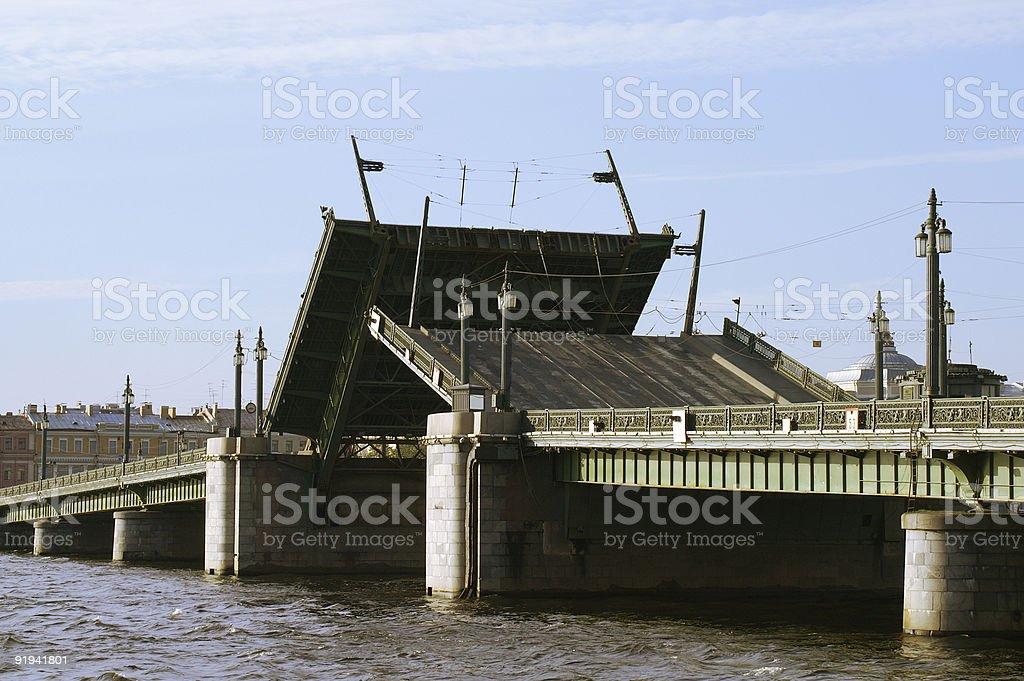Raising Drawbridge stock photo
