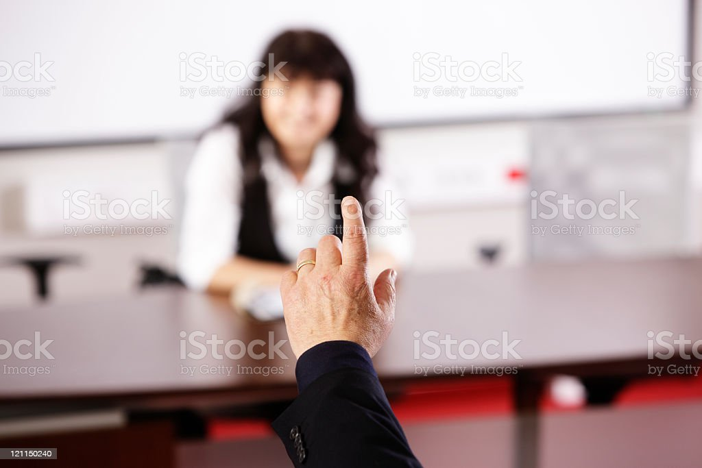 Raising finger to ask a question royalty-free stock photo