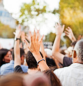 Raising hands in a protest in Barcelona