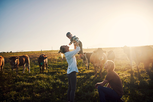 Shot of a family spending time together on their farm