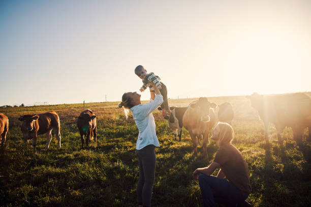 Raising one happy country kid stock photo