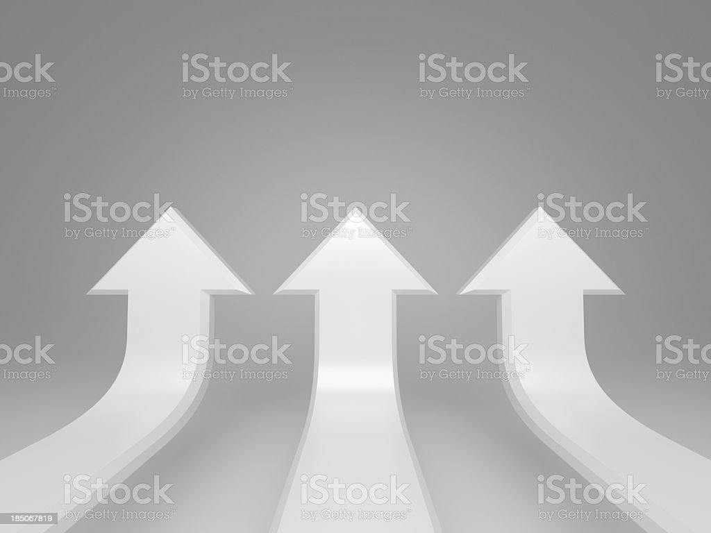 Raising white arrows concept background stock photo