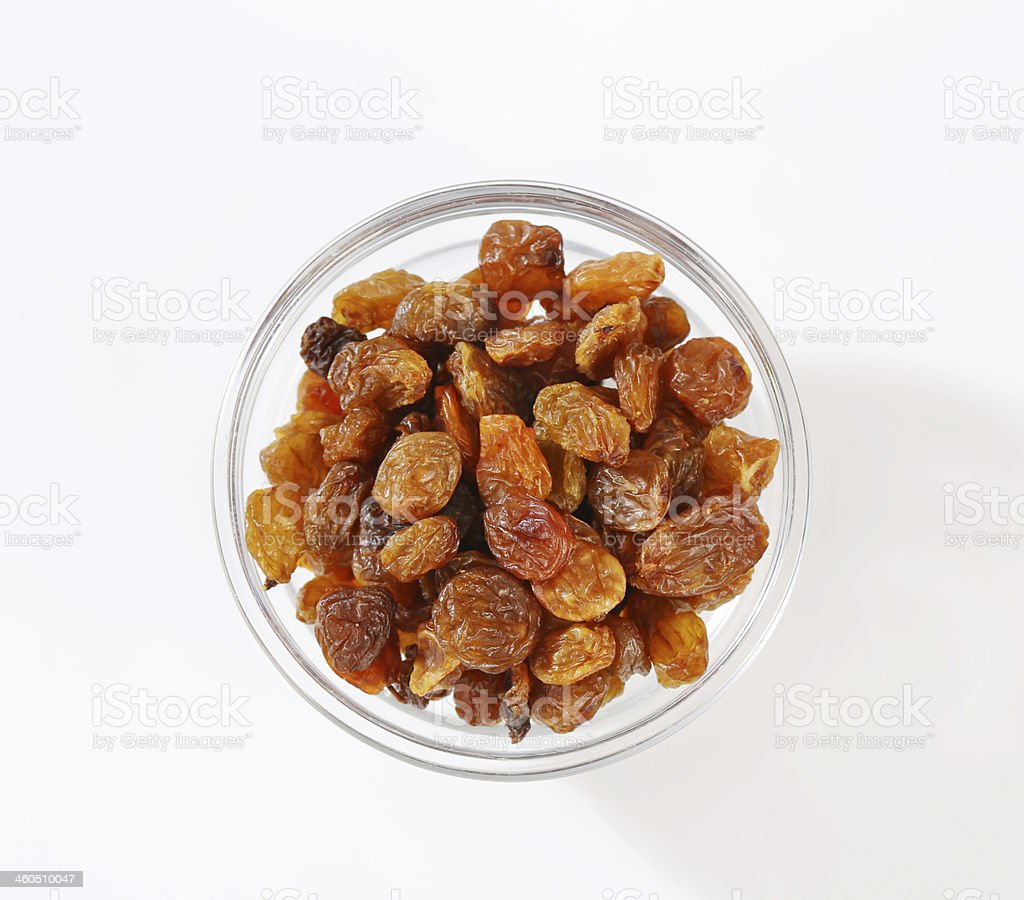 Raisins in a bowl royalty-free stock photo