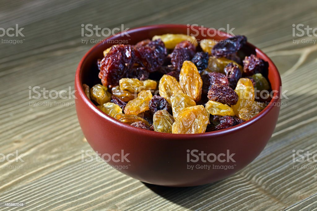 raisins in  brown dich stock photo