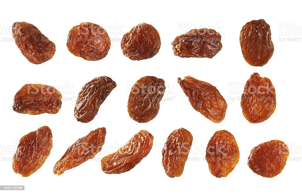 Raisins isolated on white background. stock photo