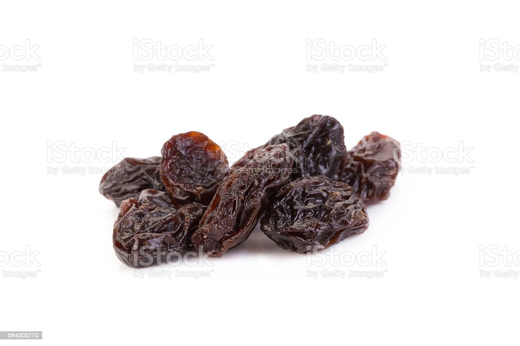 raisins isolated on white background stock photo