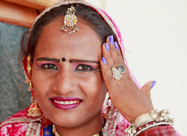 Rajastani woman with traditional jewelery stock photo