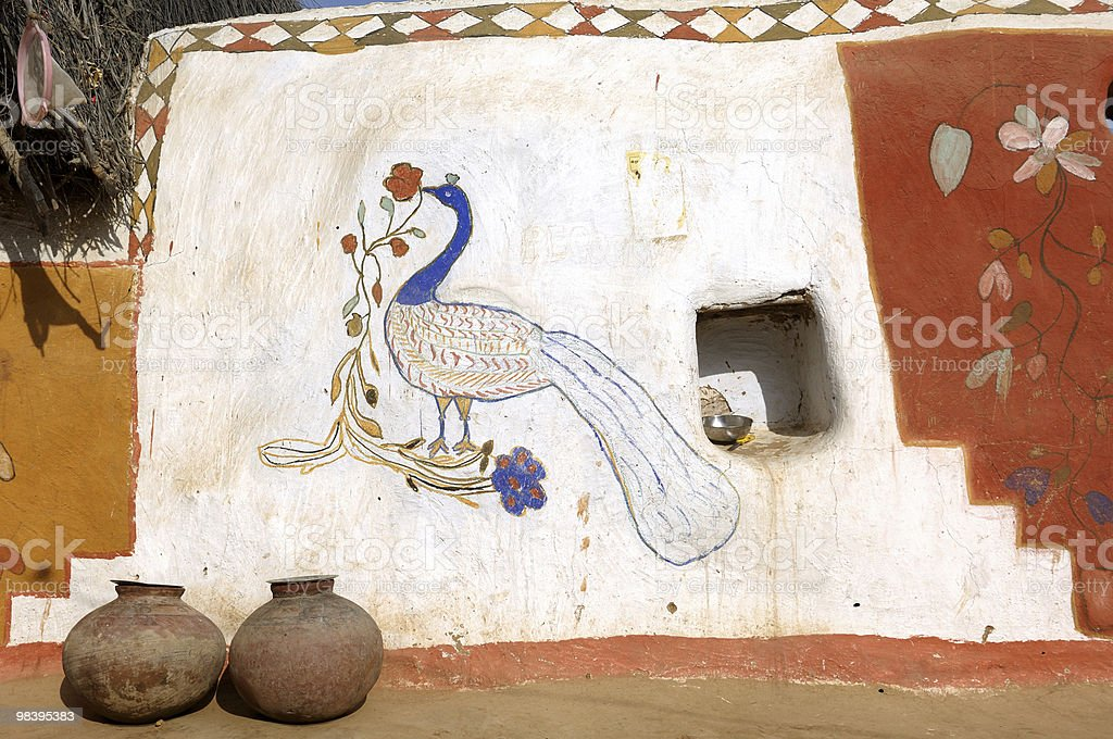 Rajasthan - colourful painted walls royalty-free stock photo