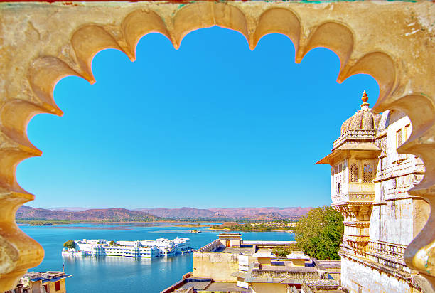 Rajasthan, India, Udaipur fortress view to Lake Rajasthan, India, Udaipur fortress view to Lake  Pichhola with clear blue sky. udaipur stock pictures, royalty-free photos & images
