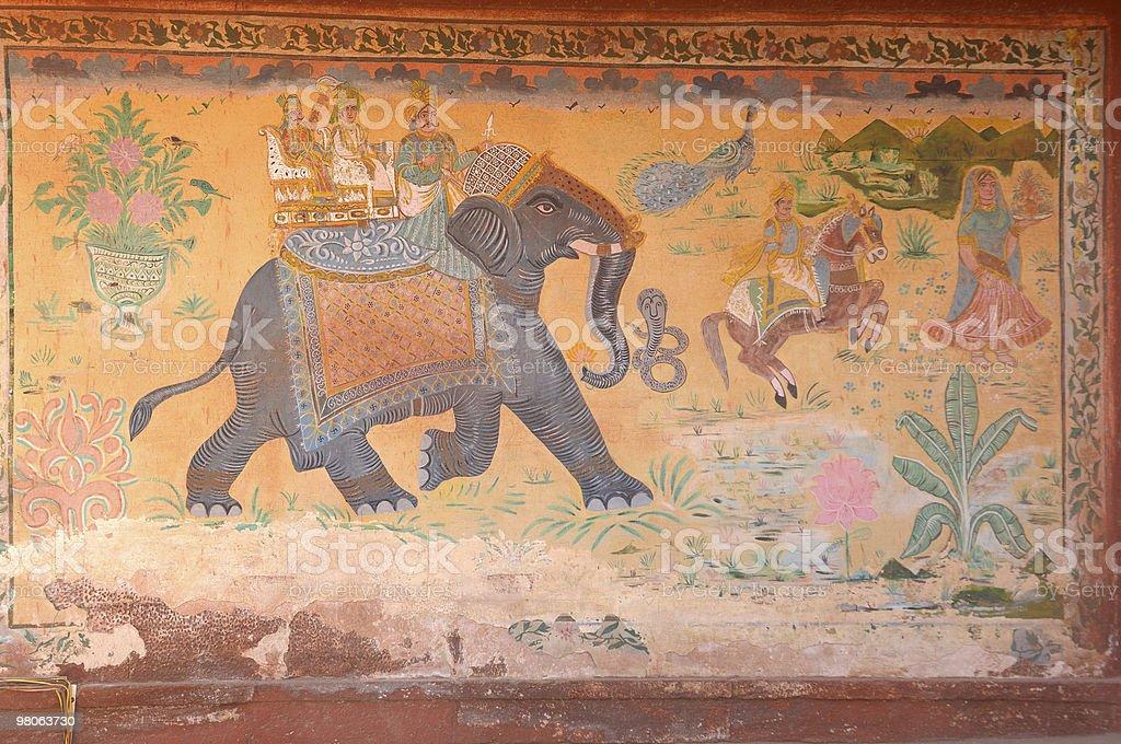 Pittura Rajasthan- nel Palazzo foto stock royalty-free