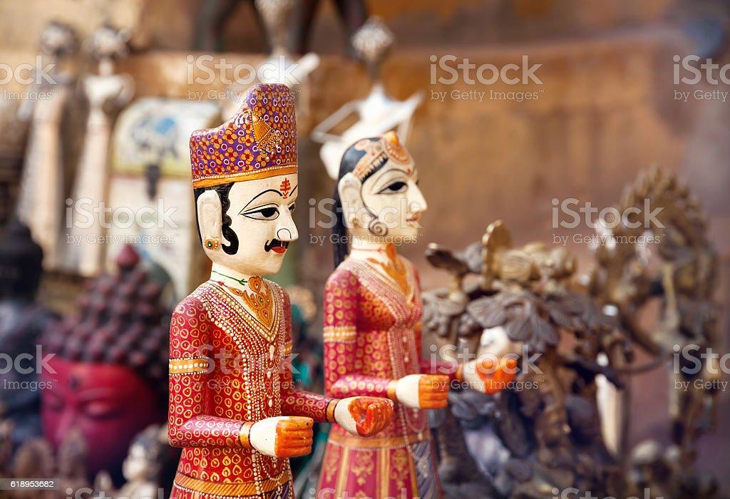 Rajasthan Puppets at market stock photo
