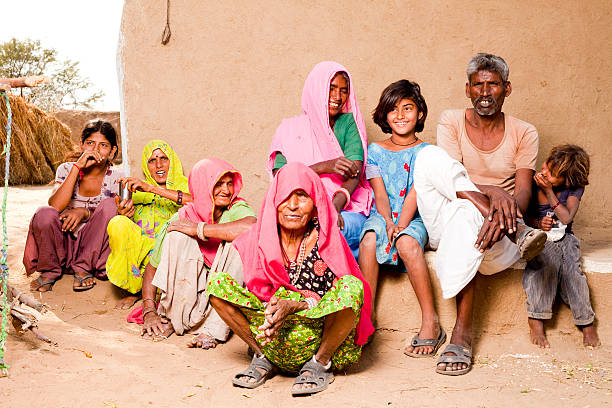 Rajasthan Traditional Rural Indian People Family in a village stock photo