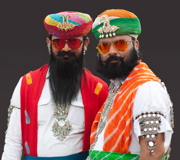 Rajasthani handsome men in traditional clothes in Bikaner, India stock photo