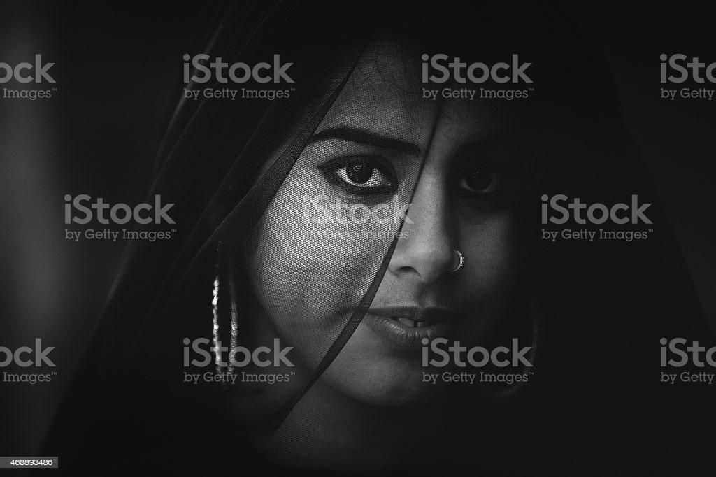 Rajasthani mysterious girl stock photo