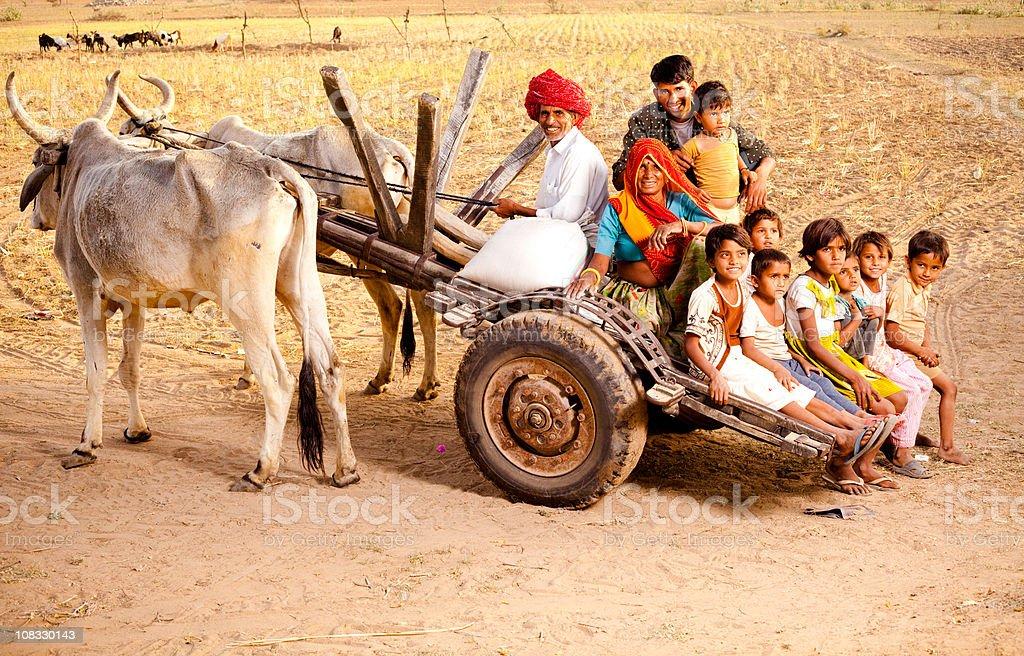 Rajasthani Rural Family enjoying a Bullock Cart Ride in Rajasthan stock photo