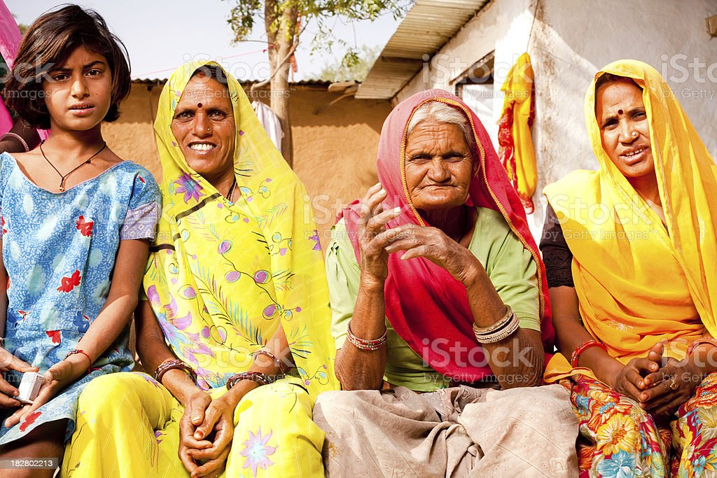 Rajasthani Rural Indian Women in a village of Rajasthan stock photo