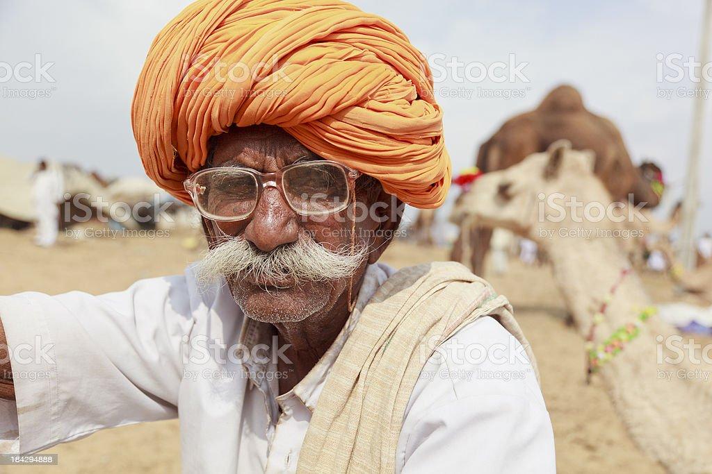 Rajasthani senior man Pushkar stock photo