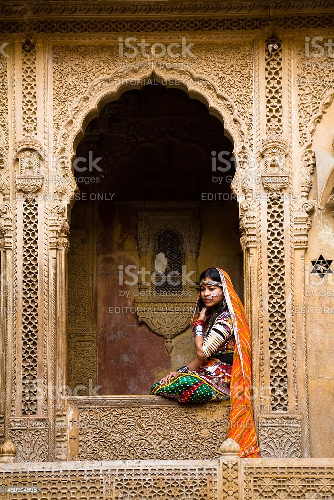 Rajasthani traditional dress, Jaisalmer stock photo