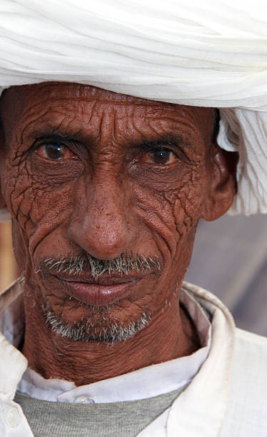 Rajasthani tribal man portrait stock photo
