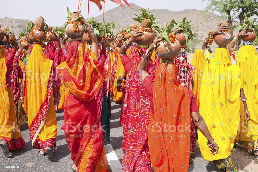 Rajasthani women wearing Colorful saris for a festival royalty-free stock photo