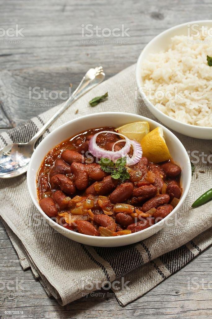 Rajma Masala /  Kidney Beans Curry served with basmati Rice stock photo