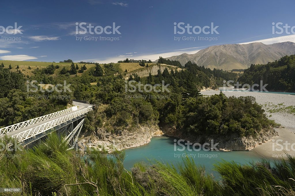 Rakaia Gorge and Bridge, New Zealand royalty-free stock photo