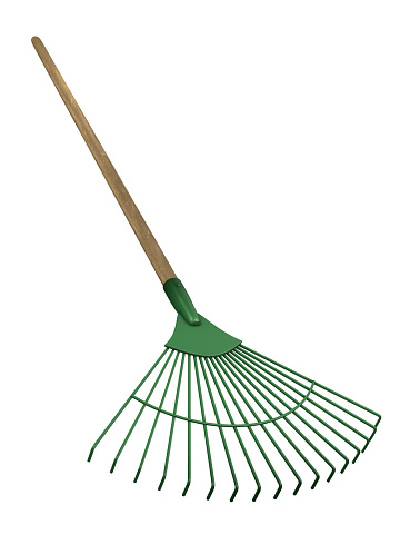 Green rake isolated on white.Could be useful in a gardening composition.This is a detailed 3d rendering.