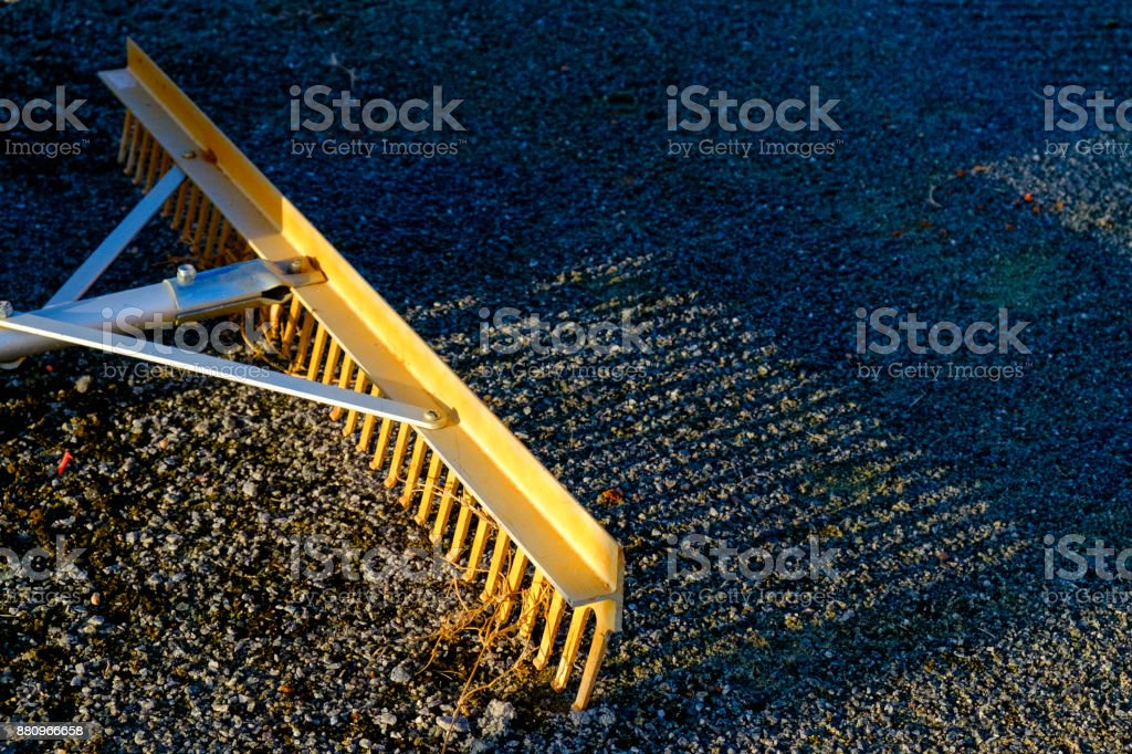 Rake with Morning Sun stock photo