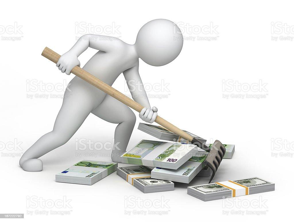 Raker and money stock photo