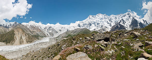 Rakhiot Glacier and Nanga Parbat Panorama stock photo