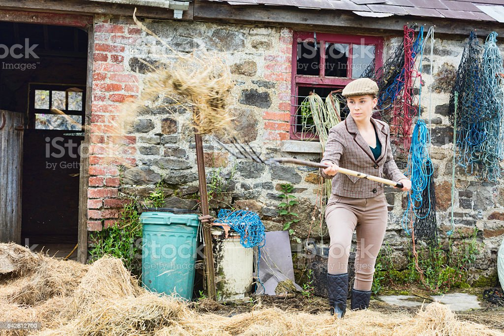 Raking Hay At The Old Stables stock photo