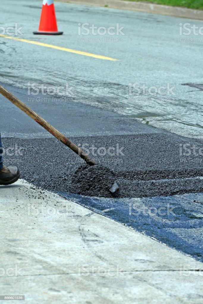 Focus on image centre, moving asphalt.