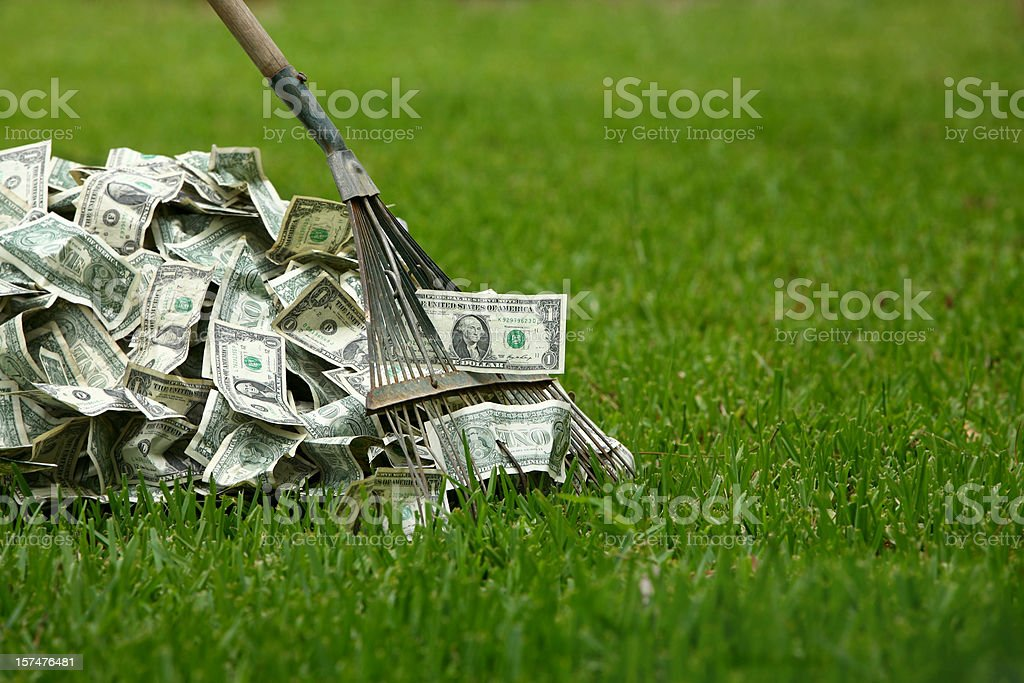 Raking in the Dough stock photo