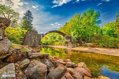19th-century bridge Rakotzbrücke (also called the Devil's Bridge) uses its reflection to form a perfect circle