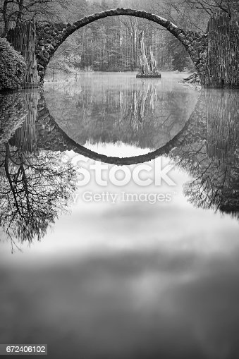 19th-century bridge Rakotzbrücke (also called the Devil's Bridge) uses its reflection to form a perfect circle
