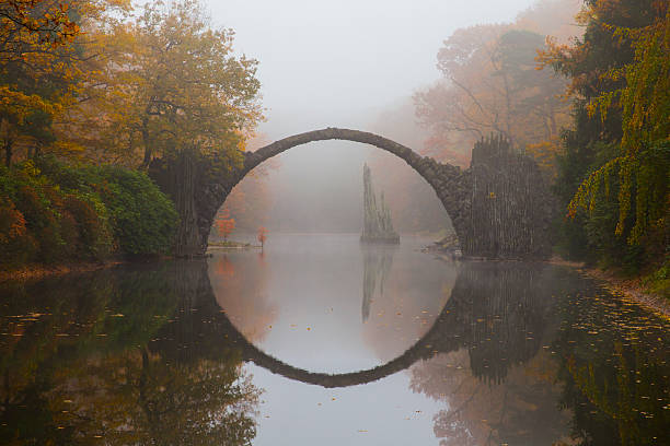 Rakotzbrücke (Devil's bridge) in early morning mist stock photo