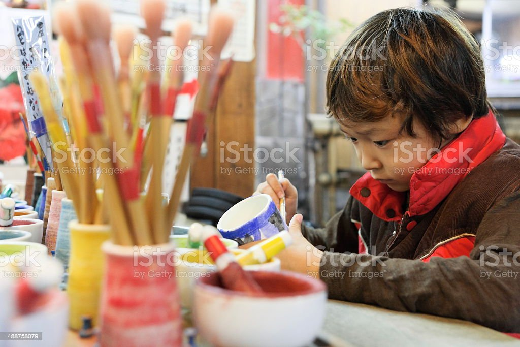 raku pottery stock photo