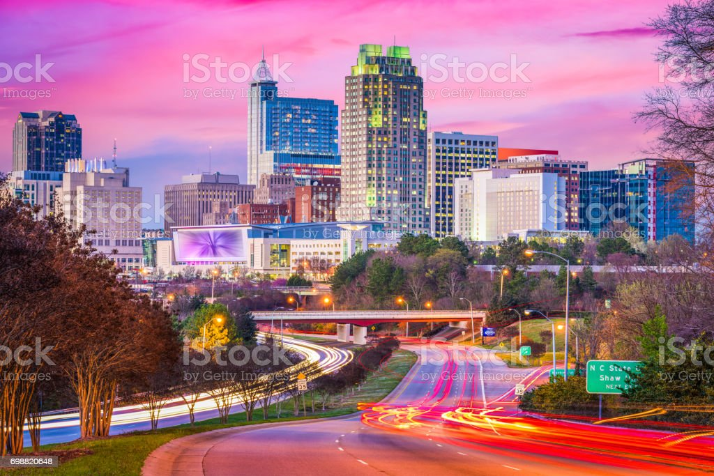 Raleigh, North Carolina, USA downtown skyline stock photo