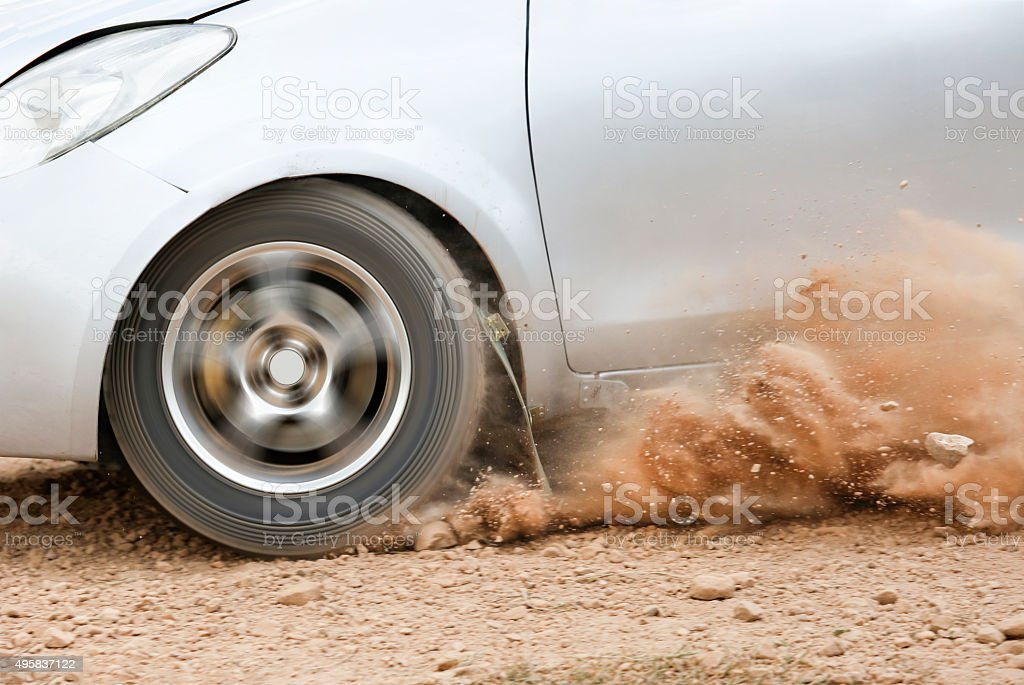 Rally Car in dirt track stock photo