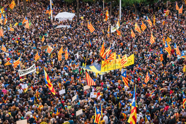 Rally for the Catalan Political Prisoners stock photo