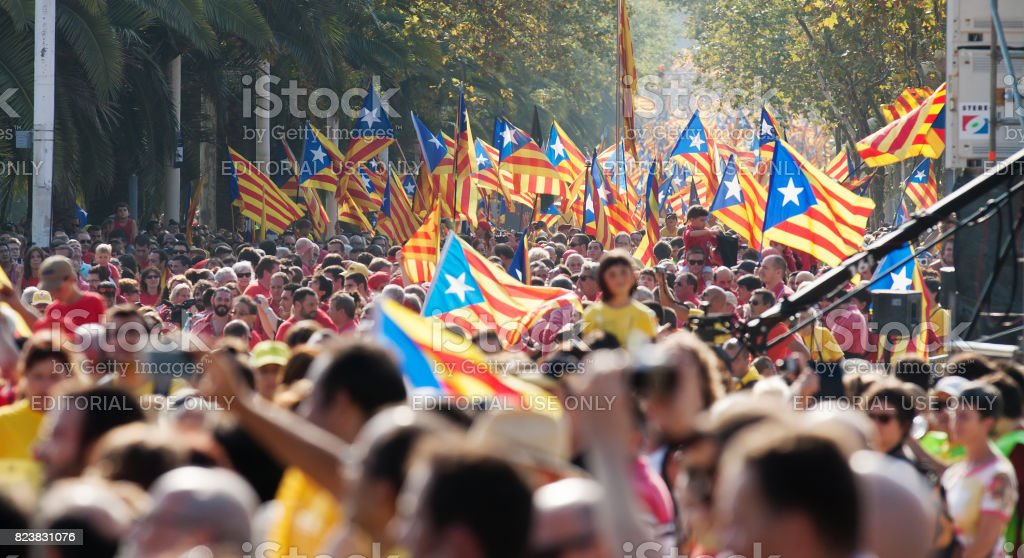 Rally in 300th anniversary of  loss of independence of Catalonia stock photo