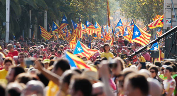 Rally in 300th anniversary of  loss of independence of Catalonia BARCELONA, SPAIN - SEPTEMBER 11, 2014: Rally in 300th anniversary of  loss of independence of Catalonia. Barcelona, Spain catalonia stock pictures, royalty-free photos & images