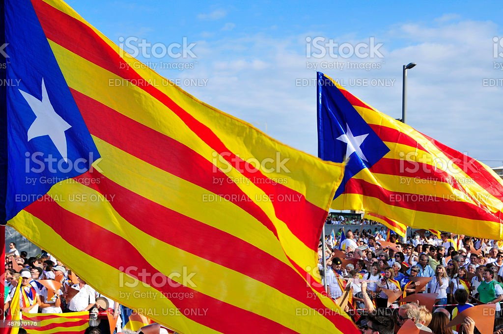 rally in support for the independence of Catalonia stock photo
