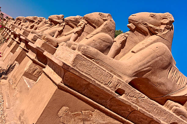 Ram Headed Sphinx The Avenue of the Rams - symbol of the god Amun, Karnak Temple, Luxor, Egypt valley of the kings stock pictures, royalty-free photos & images