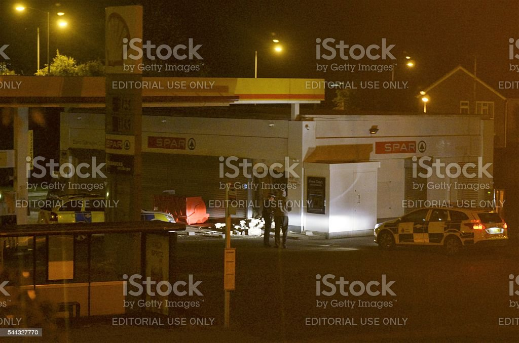 Ram raid at shell petrol station gravesend. stock photo