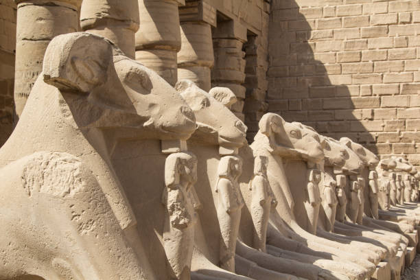 Ram statues on the main square in the open air museum of the Karnak Temple Complex in Luxor, Egypt stock photo