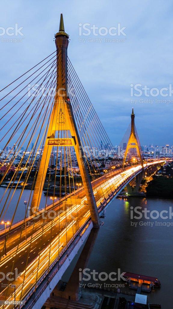 Rama 9 Bridge in Thailand. The landmark. The symbol is the symbol of the king of Thailand. Bird eye view . stock photo