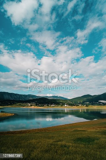 Rama lake in a sunny cloudy day in Bosnia and Herzegovina. Ramsko Jezero, a lake located in Bosnia.
