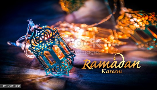 Ramadan kareem Greetings background 2020, Beautiful Yellow Color Arabic Traditional lantern light lamp, Eid Mubarak Colorful Light Decoration