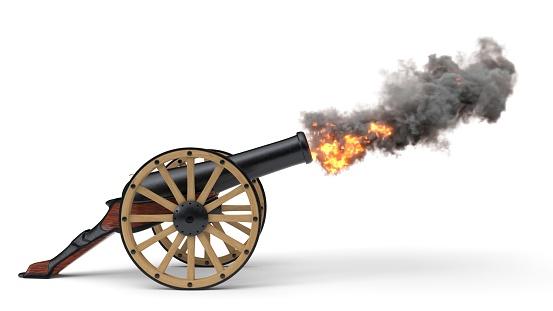 ramadan cannon shoting soccer ball. 3d illustration, isolated on white